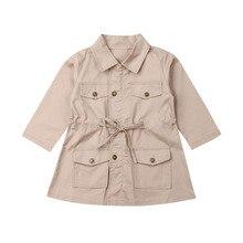 Coat Windbreaker Jacket Trench Baby-Girls Boys Children Warm Winter Solid Top Long-Sleeve
