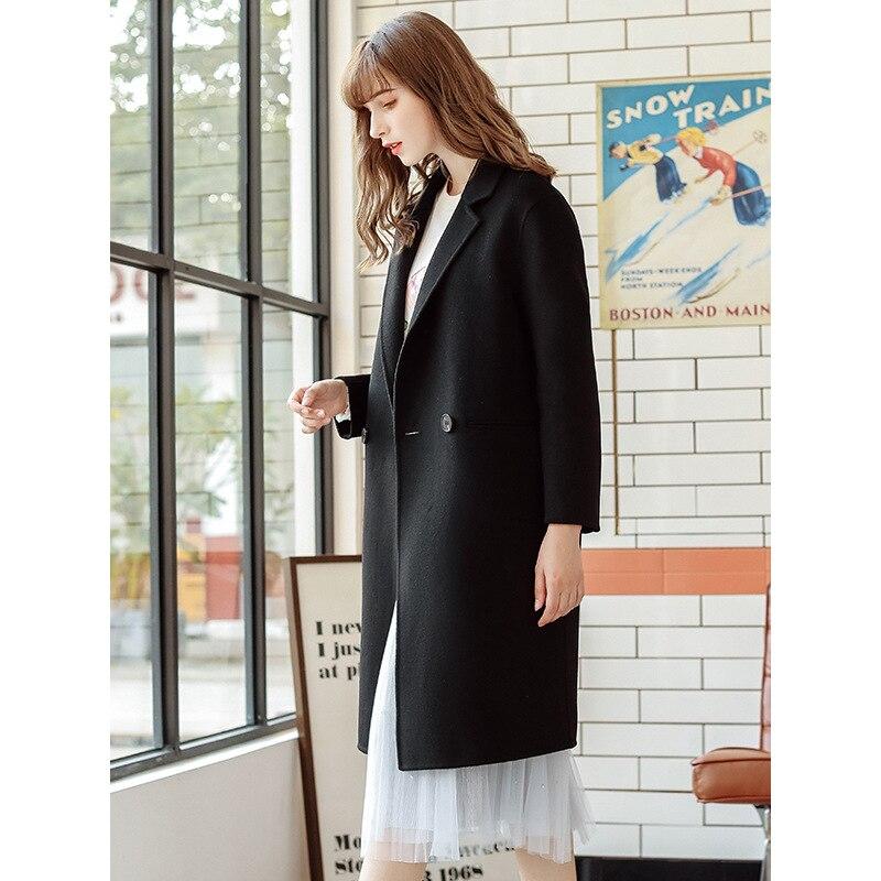 Moda 2019 nuevo otoño invierno abrigo de mujer solapa negro largo abrigo de lana Oficina señoras elegante estilo breve abrigo de lana ropa - 2