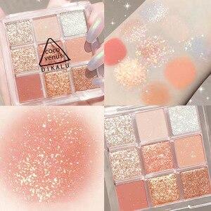 9 Colors Shiny Shimmer Eyeshadow Palette Waterproof Glitter Diamond Pigment Soft Girl Eye Shadow Powder Makeup Cosmetic