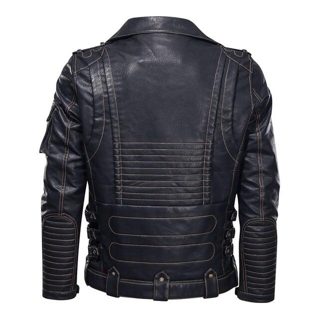 Winter Mens Leather Jacket Men Fashion Motorcycle PU Leather Jacket Cool Zipper Pockets Leather Coats EU Size 3
