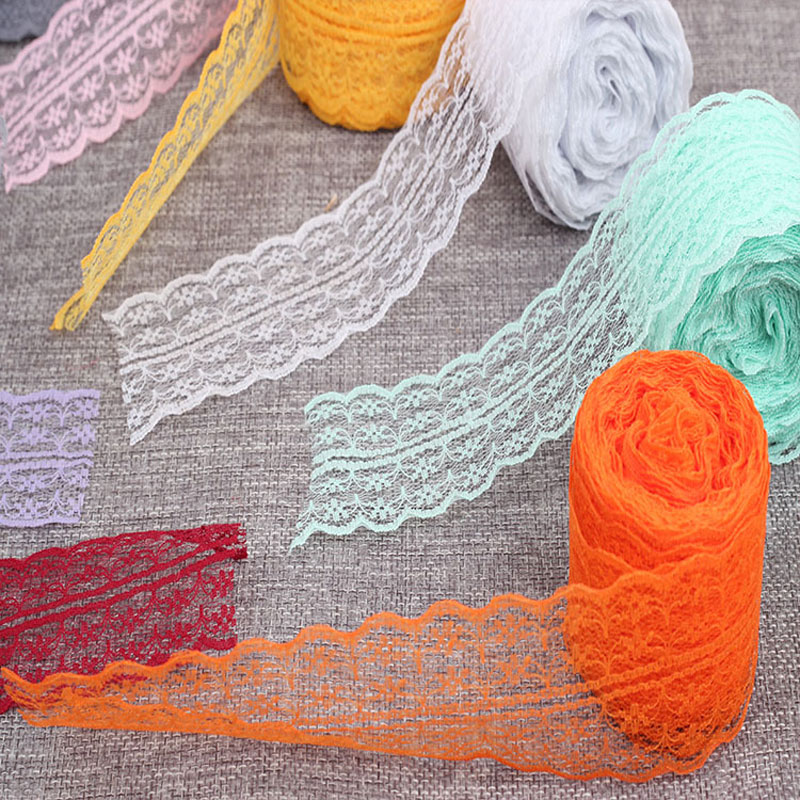 10Yards Lace Ribbon Tape 4 5CM DIY Bow Headdress Decoration Accessories For Sewing African Lace Fabric Trim Bilateral Gift LR45 in Ribbons from Home Garden