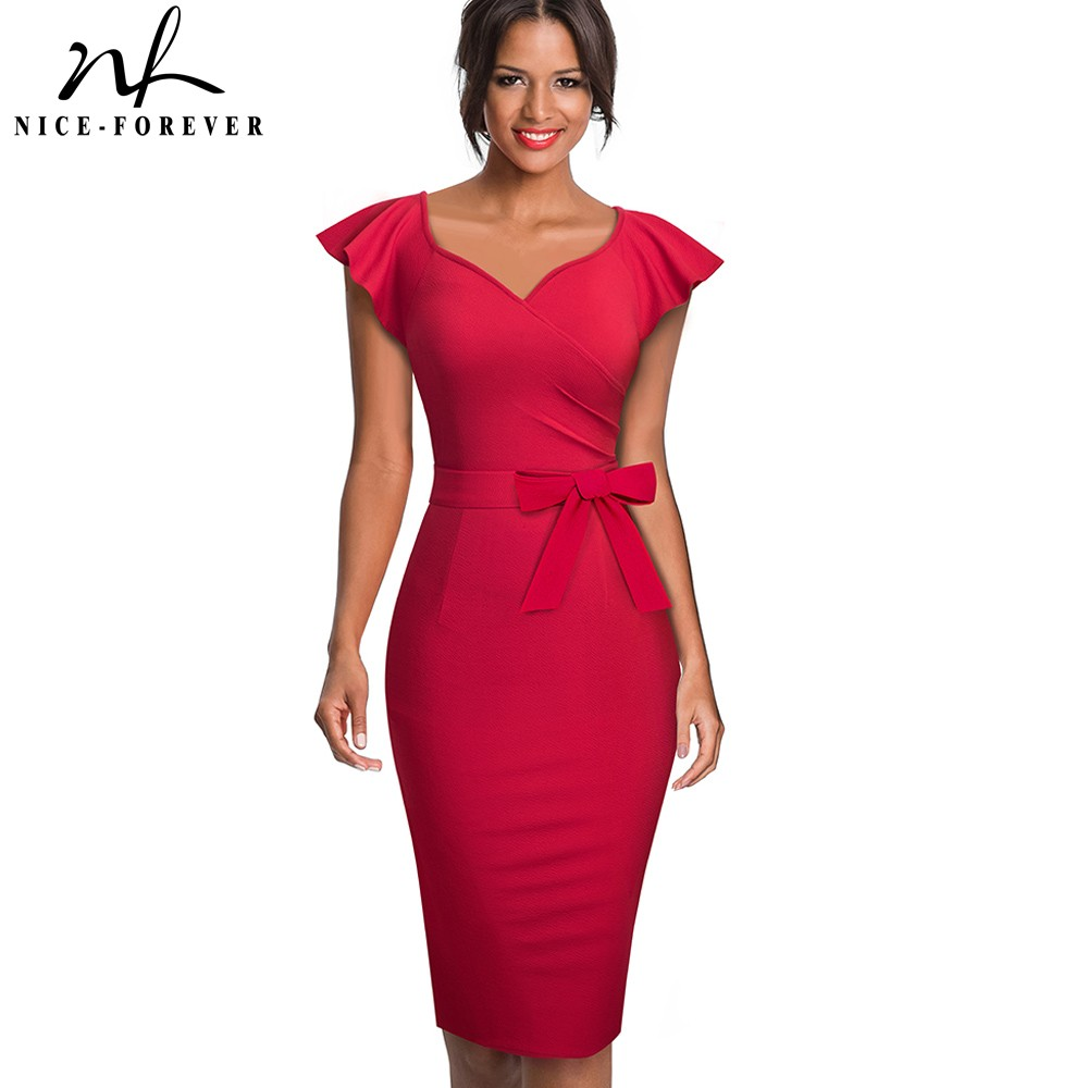 Nice-forever Elegant Pure Color Ruffle Sleeve Office Work Vestidos Business Party Bodycon Women Pencil Dress B577
