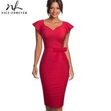 Nice forever elegante vestido ceñido de mujer, de color puro, manga con volantes, para oficina, trabajo, fiesta de negocios, lápiz, B577