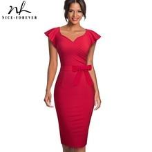 נחמד לנצח אלגנטי טהור צבע לפרוע שרוול משרד עבודת vestidos המפלגה עסקי Bodycon נשים עיפרון שמלת B577