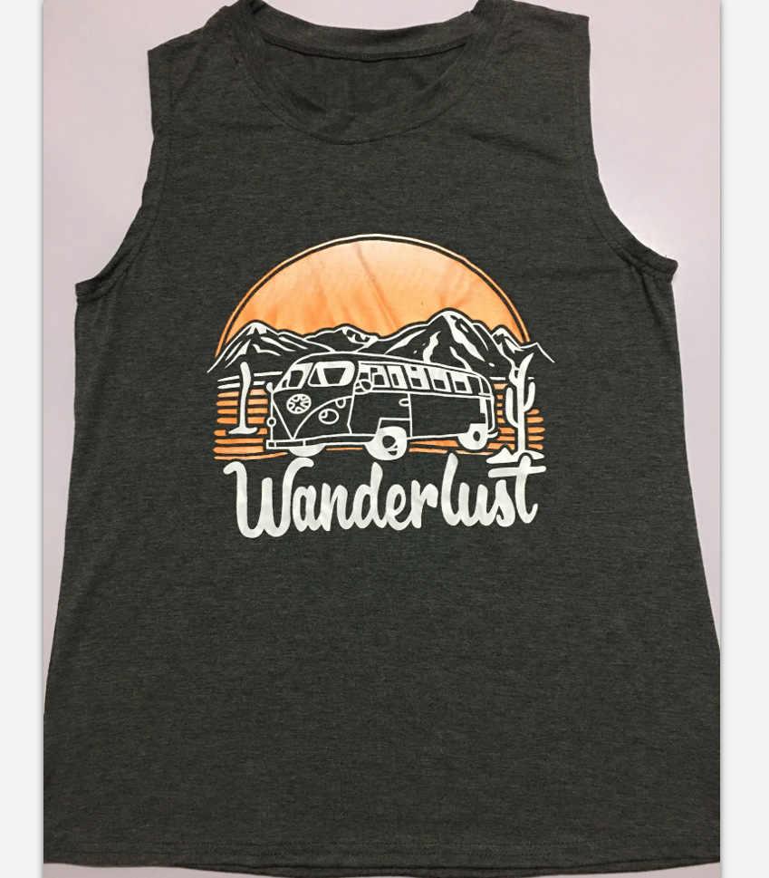 """ファッション夏の女性/ガール/レディース綿 """"Wanderlust"""" プリントラウンドネックノースリーブソリッドカジュアルルーズタンクトップ tシャツ黒"""