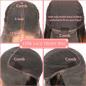 Image 5 - עלי מלכת שיער 13x 4/13x6 תחרה מול פאות 180% צפיפות בלונדינית/ורוד ברזילאי ישר רמי שיער טבעי שחור קצר בוב פאות