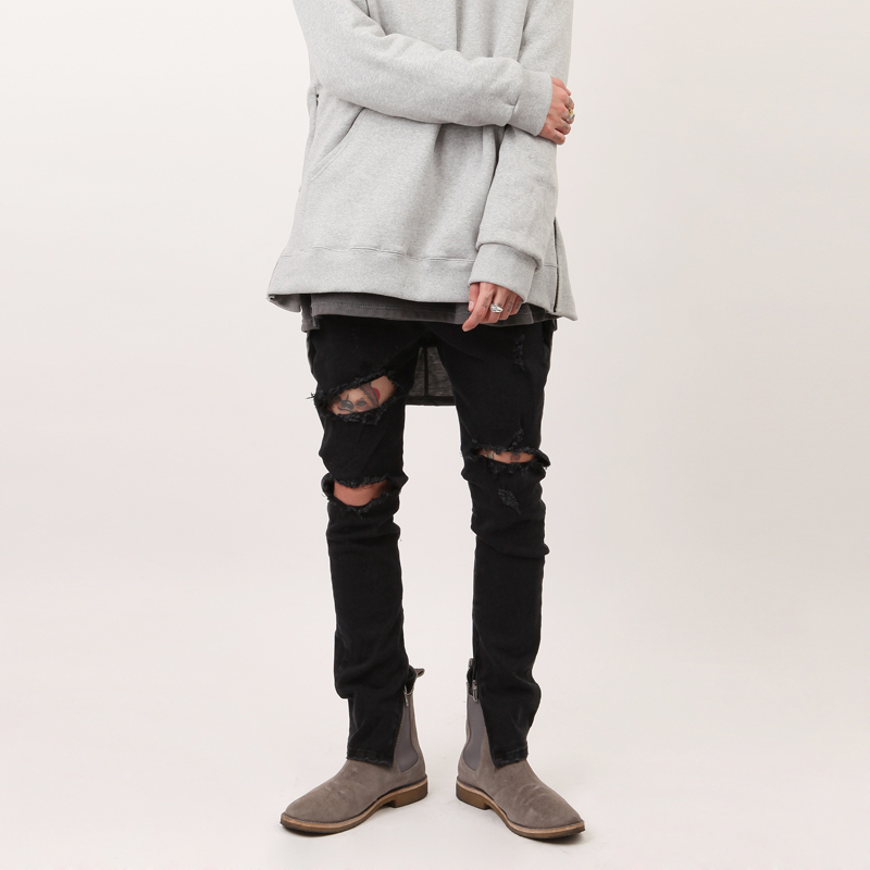 Tide Thin Knees Hole Black Slim Zipper Feet Jeans Men's Autumn And Winter New Trousers High Street