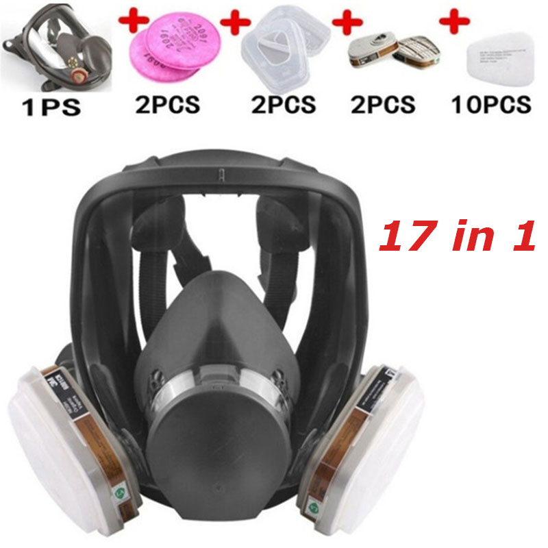 Anti-Fog Full Face Respirator Gas Mask Industrial Painting Spraying Respirator Safety Work Filter Formaldehyde Protection