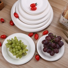 Tableware Disposable-Plates White Birthday Paper-Tray Pan Round-Disk Wedding Christmas-Party