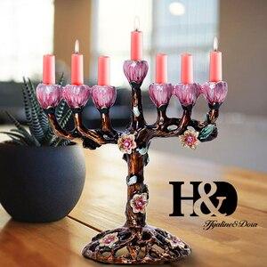 Image 5 - H & d 5 スタイルハヌカ手塗装エナメル本枝の燭台燭台のchanukah寺燭台 9 支店スターデビッドキャンドルホルダー