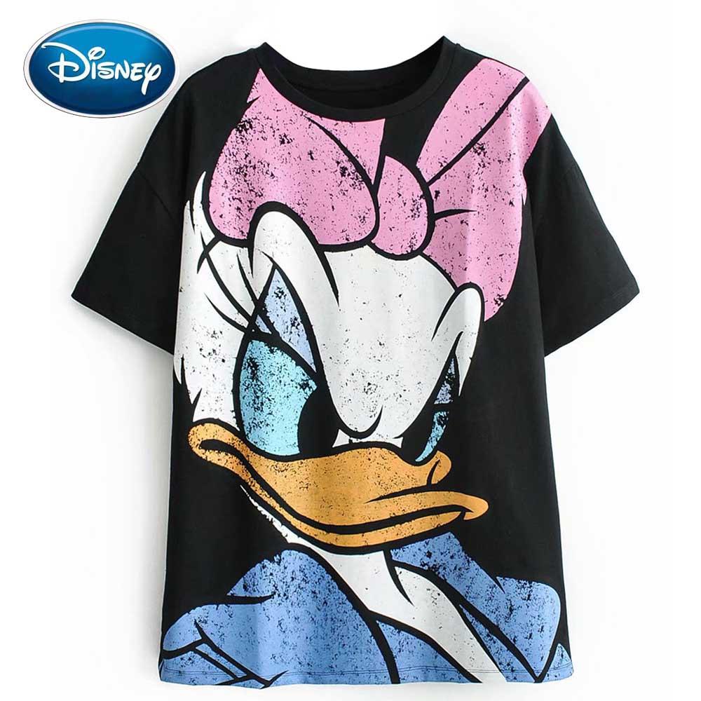 Disney Fashion Cute Daisy Duck Cartoon Print Black T-Shirt O-Neck Pullover Short Sleeve Casual Sweet Women Loose Tee Tops