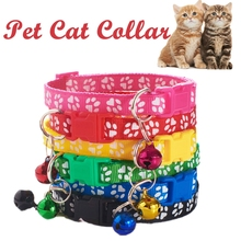 Pet Cat Collar Cute Paw Print with Bell Adjustable Ribbon Collar for Cats Small Dogs Puppy Neck Strap Pet Supplies Accessories pet collar reflective pet bell collar adjustable size suitable for cats and small dogs pet supplies glow in the dark wholesale
