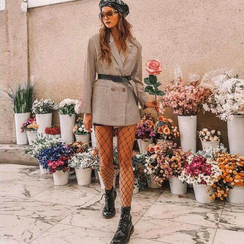Retro Blazers 2019 New Summer Autumn Women Sexy Jackets Button Down Plaid Blazer Coat Ladies Casual Jacket Outwear Plus Size Hot