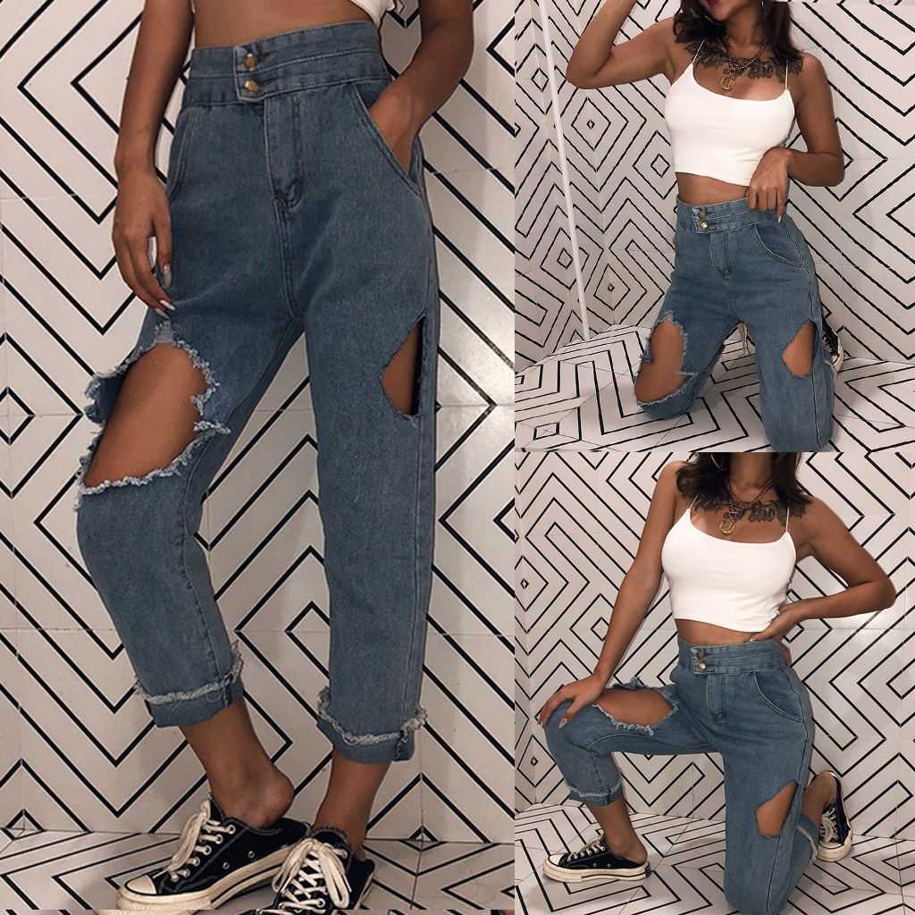 Women's Plus Size S-5XL Casual High Waist Pants Button Pocket Shredded Jeans korean style Loose Hole Ankle-Length denim Pants