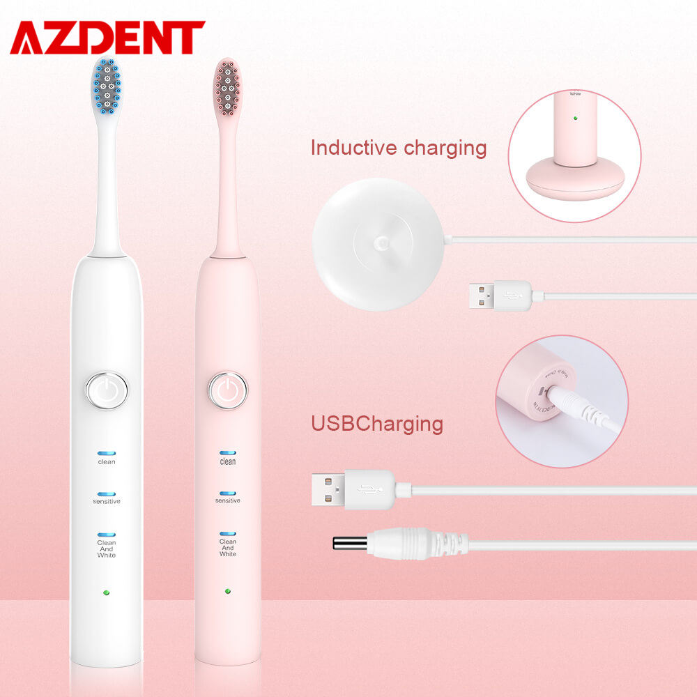 AZDENT New Inductive USB Rechargeable Electric Toothbrush 3 Modes Ultrasonic Teeth Brush 3 DuPont Replaceable Heads Waterproof