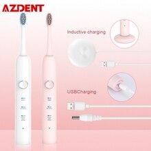 AZDENT جديد الاستقرائي USB فرشاة الأسنان الكهربائية القابلة لإعادة الشحن 3 طرق فرشاة أسنان بالموجات فوق الصوتية 3 دوبونت استبدال رؤساء مقاوم للماء