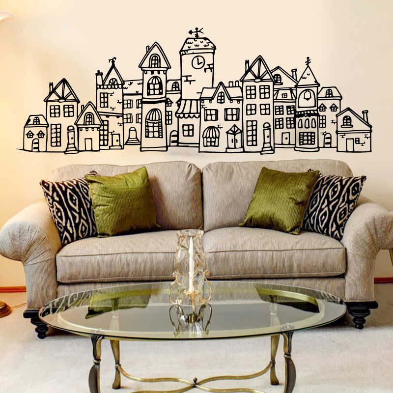Large Scandinavian Style Cute Village City Wall Sticker Bedroom Sofa Nordic  Scandi Town Wall Decal Living Room Nursery Vinyl Art