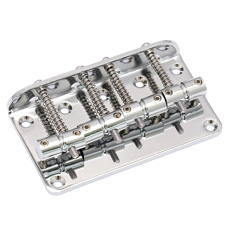 Hard Tail Fixed Bass Guitar Bridge Compatible With 4 String Jazz Bass Or Precision Bass Style Bass Guitar Top Load Chrome