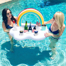 Summer Swimming Ring Pool Toys Rainbow Cloud Inflatable Drink Cup Holder Floats Bar Coasters Floatation Devices Party Bucket