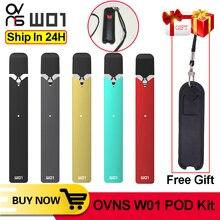 선물!!! 원래 ovns w01 포드 vape 280 mah 키트 0.7ml led 전원 표시 포드 시스템 전자 담배 vape 펜 키트 대 minifit 키트