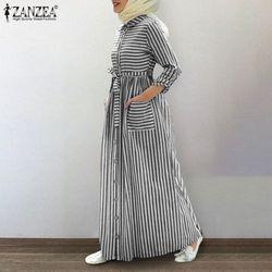 Vestido de camisa às riscas à moda das mulheres vestidos muçulmanos zenzea casual manga longa maxi vestidos botão feminino robe com cinto de grandes dimensões