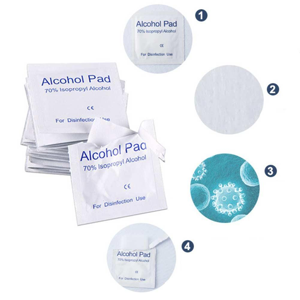 100pcs Set Alcohol Prep Swap Pad Wet Wipe Disposable Disinfection For Antiseptic Skin Cleaning Care Jewelry Mobile Phone Clean