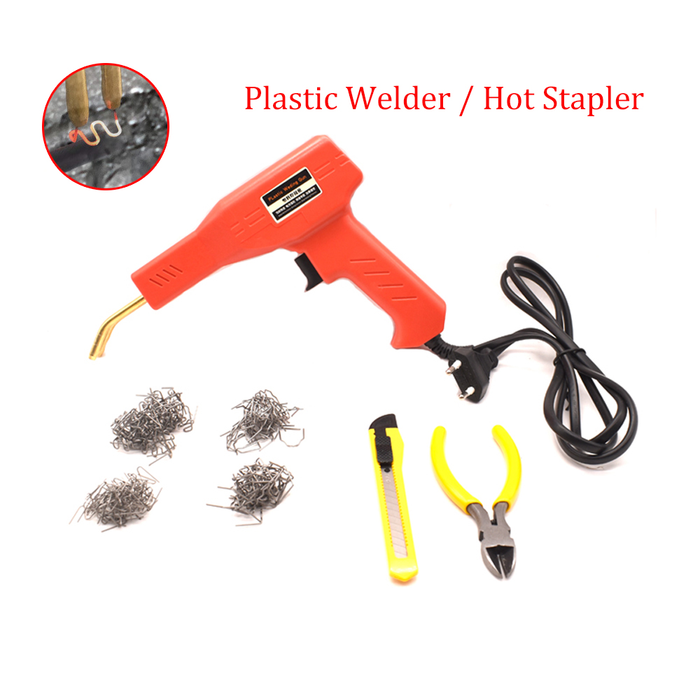 Car Bumper Welder Gun Hot Stapler Plastic Repair Tool Kit