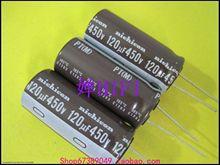 10 шт., NICHICON PT 450V120UF 18X40MM электролитический конденсатор 120 мкФ/450 в, высокая частота, долгий срок службы 120 мкФ 450 в