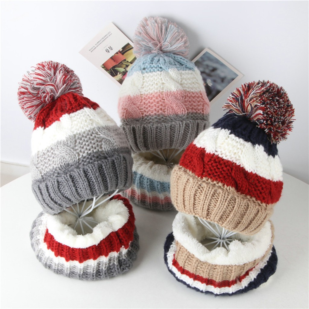 Winter Toddler Girl&Boy Baby Splice Crochet Knit Hat Beanie Hairball Cap Scarf Set Suit Scarf, Hat & Glove Sets  Accessories