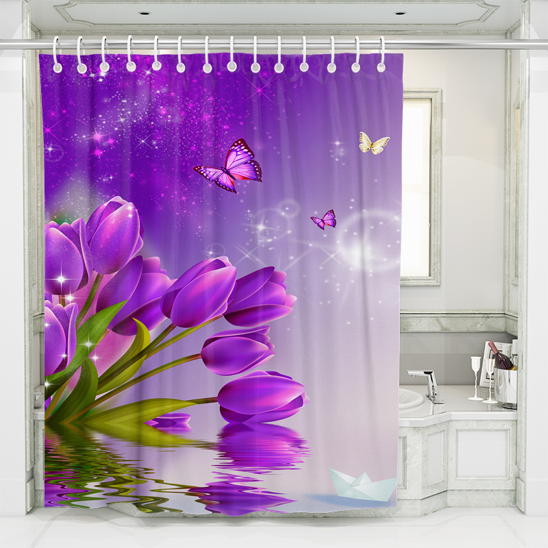Purple Lily Flowers Shower Curtains 3d Bathroom Curtain Colorful Polyester Home Decor Bath Screen With Hooks 180x180 180x200cm