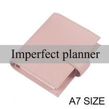 Cahier, anneaux imparfait, en cuir véritable, taille A7, Agenda, organisateur de grains Litchi, Journal intime, planificateur de carnet de croquis