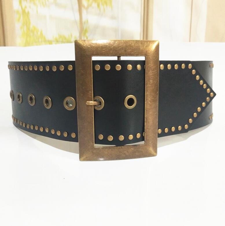 Women's Runway Fashion Rivet Pu Leather Punk Cummerbunds Female Dress Corsets Waistband Belts Decoration Wide Belt R2575