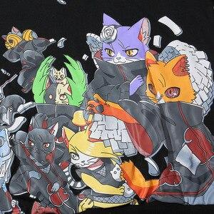 Image 5 - 男性ヒップホップパーカートレーナーアニメ猫日本の漫画ストリート原宿パーカープルオーバールーズ秋黒汗シャツ