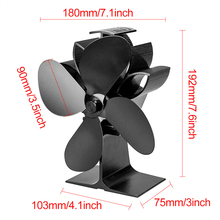Heat Powered Stove Fan 4 Blades Silent Portable for Wood Fireplace Log Fire Burning DC120