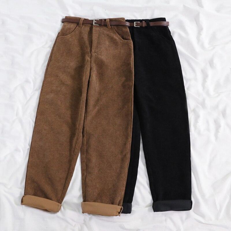 Lucyever Neue 2020 Frauen Frühling Cord Hosen Hohe Taille Vintage Korean Breiten Bein Hosen Elegante Gürtel Lose Baumwolle Streetwear