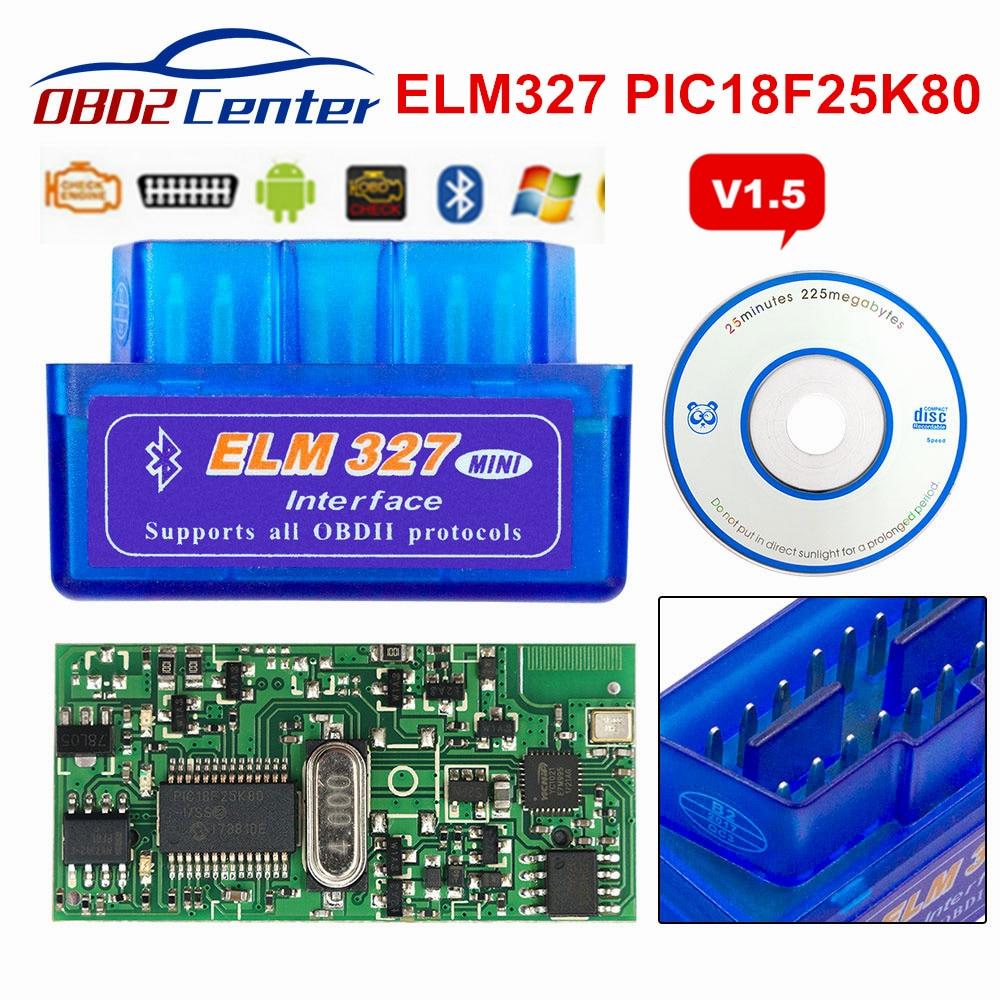 2019 Mini ELM327 V1.5 PIC18F25K80 OBD2 escáner ELM 327 1,5 OBDII Bluetooth herramienta de exploración de diagnóstico ELM 327 V1.5 25K80 Chip 3 Color Nuevo V1.5 Elm327 adaptador Bluetooth Obd2 Elm 327 V 1,5 escáner de diagnóstico automático para Android Elm-327 Obd 2 ii herramienta de diagnóstico de coche