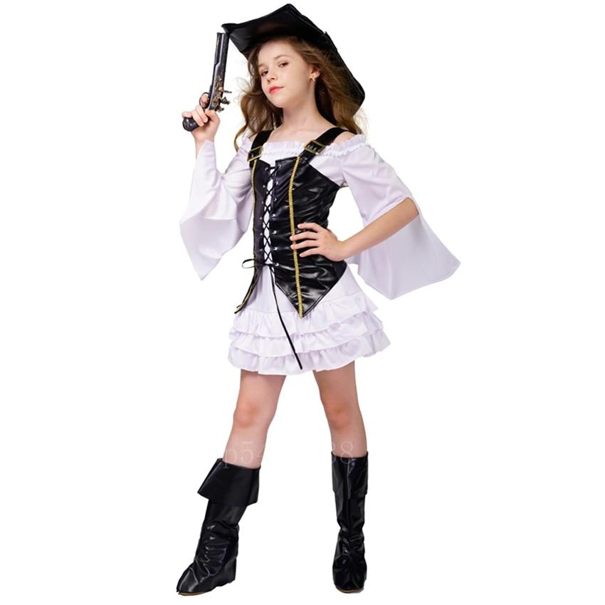 Halloween Cosplay Costume Kids Baby Girls Carnival Party Fancy Pirate Bandage Vest Off Shoulder Long Sleeve Dress Vest Hat Set