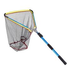 Portable Triangular Folding Fishing Nets Telescoping Landing Net Pole Casting Network Trap Aluminum Alloy