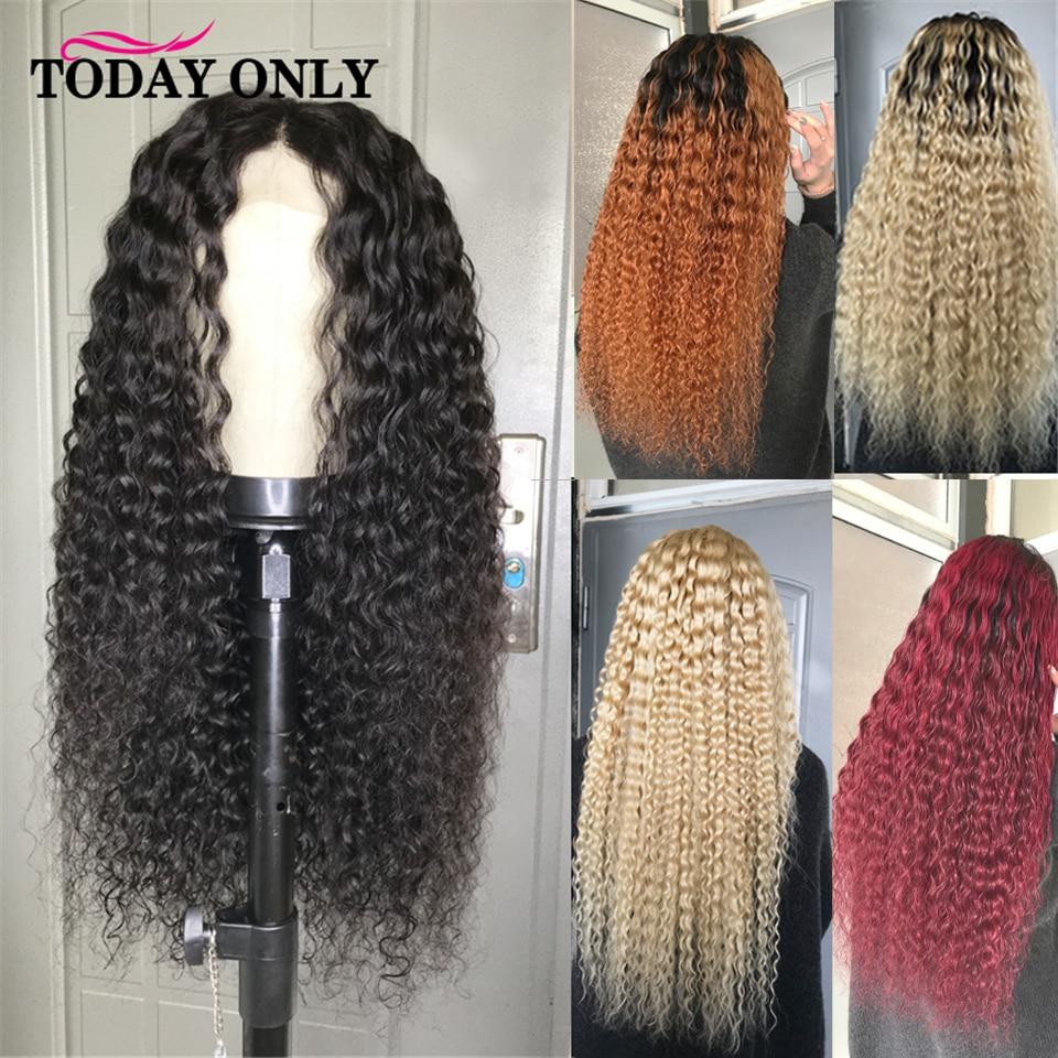 Кудрявые вьющиеся человеческие волосы парик 613 блонд Ombre Человеческие волосы фронта для женщин бразильский Реми 1b/27 180 250 плотность парик шну...