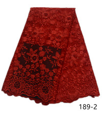 High-grade African fabric  french lace with beads rhinestone fabrics for dresses embroided tulle 5yard 189