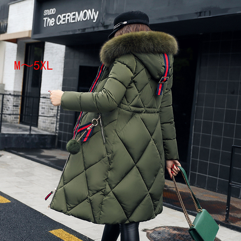 Big fur winter coat thickened parka women stitching slim long winter coat down cotton ladies down parka down jacket women Y07 image