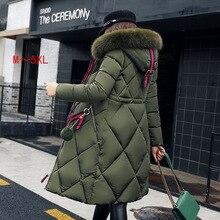 ビッグ毛皮の冬のコート肥厚パーカー女性ステッチスリムロング冬コートダウン綿の女性のダウンパーカーダウンジャケット女性 y07