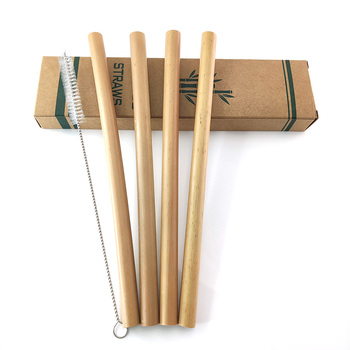 Natural Bamboo Drinking Straw Set Biodegradable Bamboo Straws Reusable Thick Straw Tableware with Cleaning Brush Sugarcane Straw image