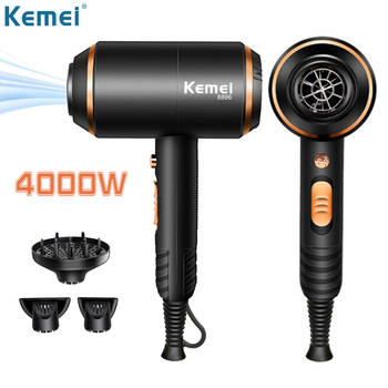 EU Plug Kemei Hair Dryer Professional Powerful Blowdryer Hot and Cold Strong Power 4000W Negative Ion Blow Dryers with Diffuser 4000w fast dry hair dryer diffuser hot