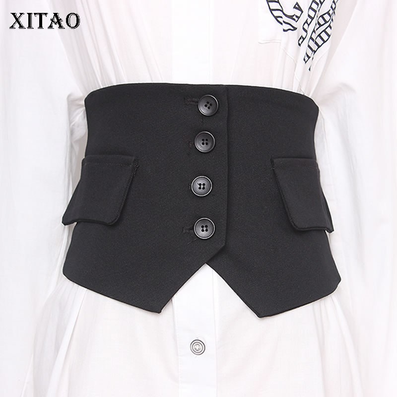 XITAO Fashion Wild Was Thin Cummerbunds Black Slim Fit Women Clothes Modeling Button Irregular Cummerbunds Decoration  XJ4112