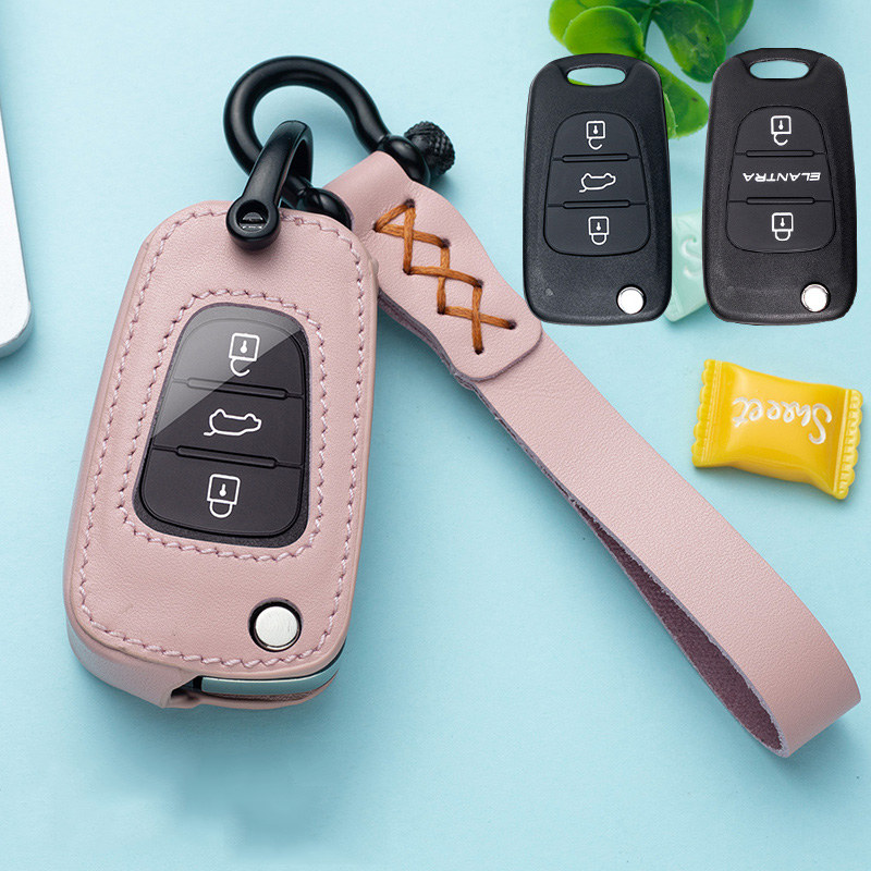 Leather Car Key Case Cover Chain For Hyundai I20 I30 I40 IX25 Creta IX35 HB20 Solaris Elantra Accent For Kia K2 K5 Rio Sportage