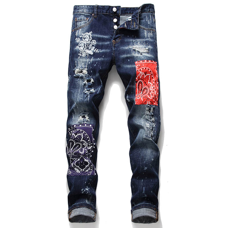 KIOVNO Fashion Men Ripped Distressed Denim Trousers Punk Style Badge Patchwork Jeans Pants Male Streetwear Straight