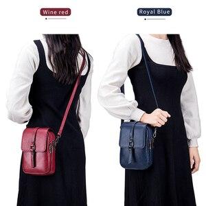 Image 3 - Fashion Mobile Phone Bag Small Clutches Shoulder Bag Genuine Leather Women Mini Handbag High Quality Purse Flap Cross body Bags