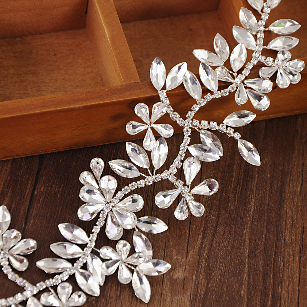 TRiXY H239 Rhinestones Wedding Headband for Bride Ribbon Wedding Headband Bridal Hair Accessories Tiara Bridal Headpieces