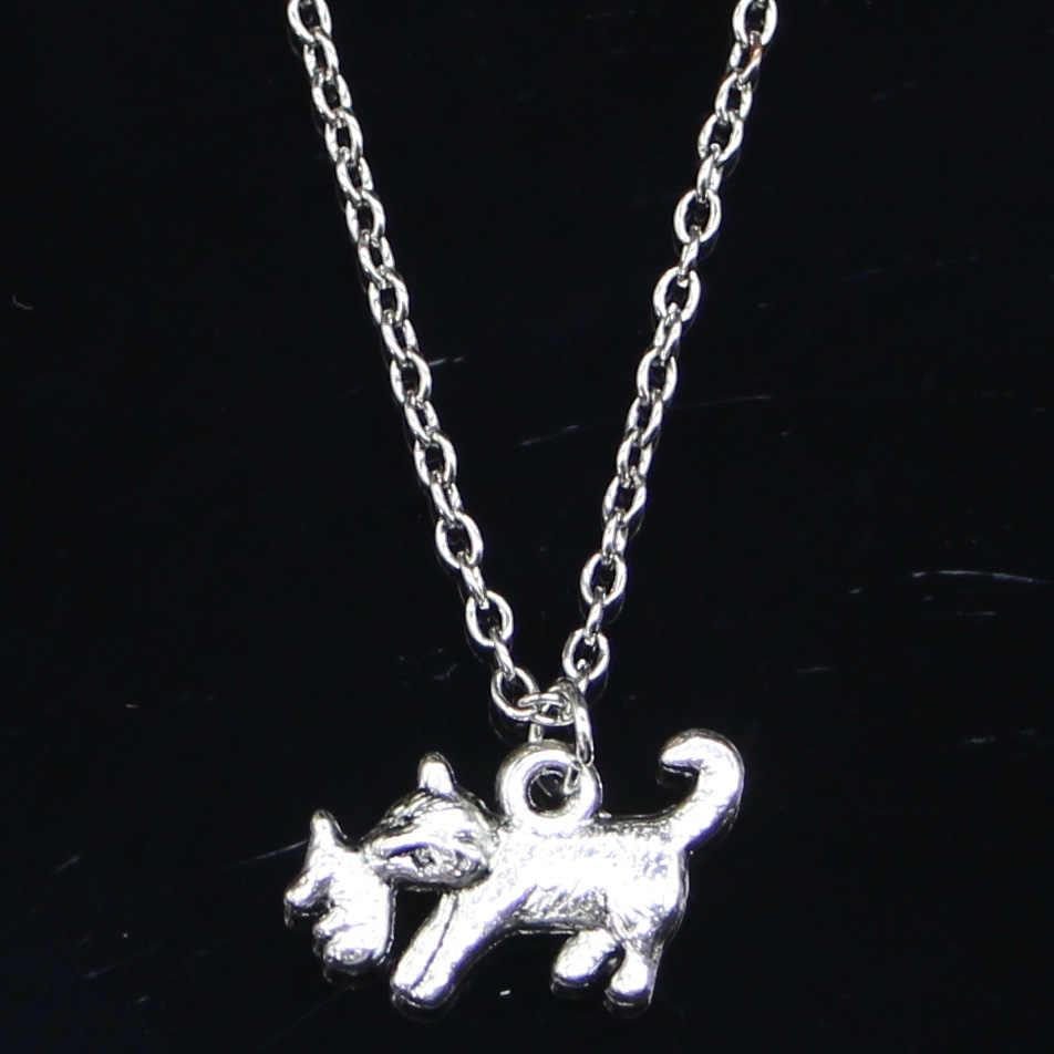 Baru Fashion Kalung 21X12 Mm Kucing Menangkap Mouse Perak Liontin Pendek Panjang Wanita Pria Colar Hadiah Perhiasan Kalung